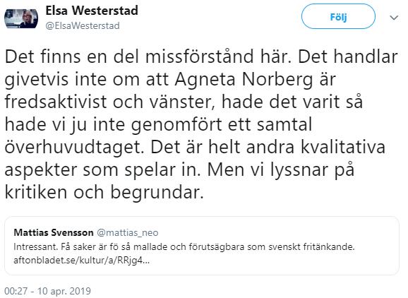 Elsa Westerstad om varför Norbergintervjun inte kom in